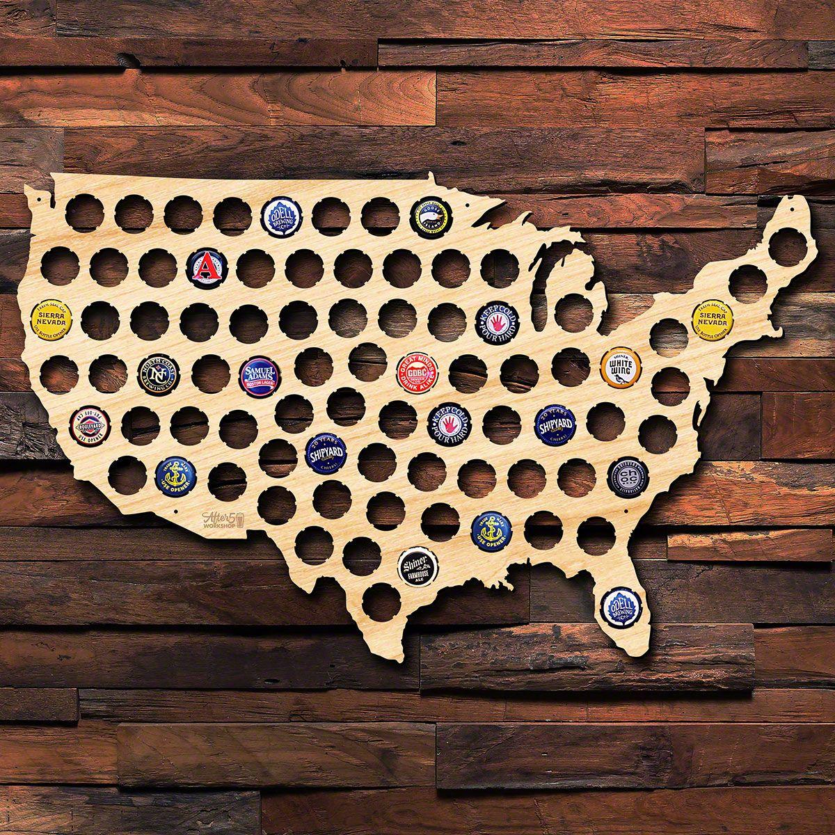 South Carolina Beer Cap Map Laser Cut Birch Wood Man Cave Craft Beer Cap Holder