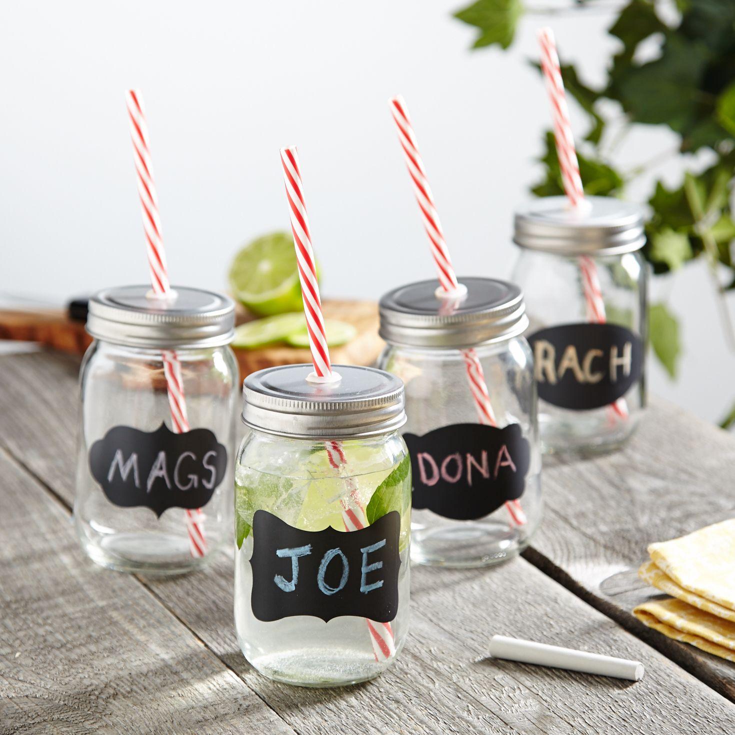 Chalk It Up Mason Jar Glasses, Set of 4