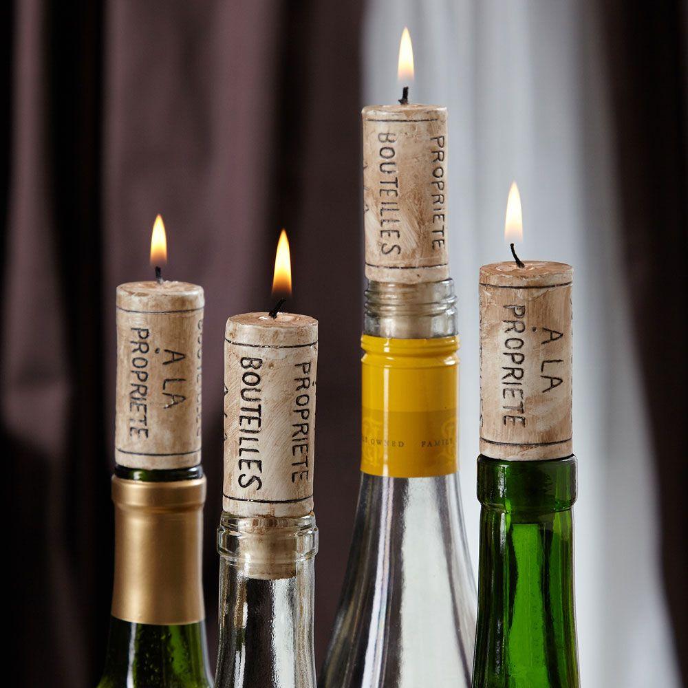 Soft Glow Wine Cork Candles, Set of 4