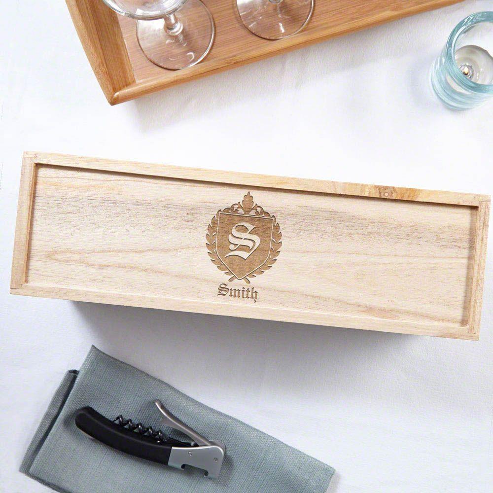 Oxford Monogram Personalized Wood Wine Box