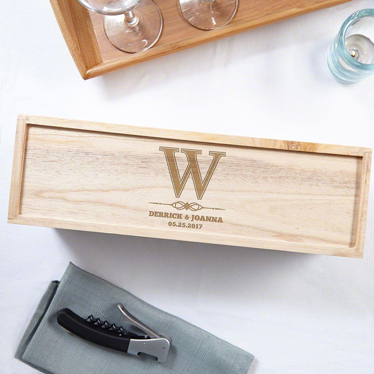Lyndhurst Personalized Wood Wine Box