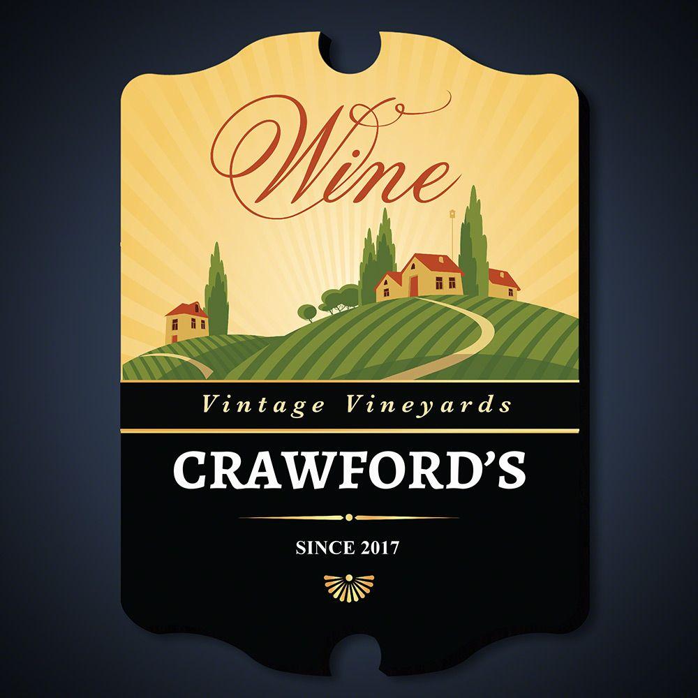 Vintage Vineyards Personalized Wine Decor Sign