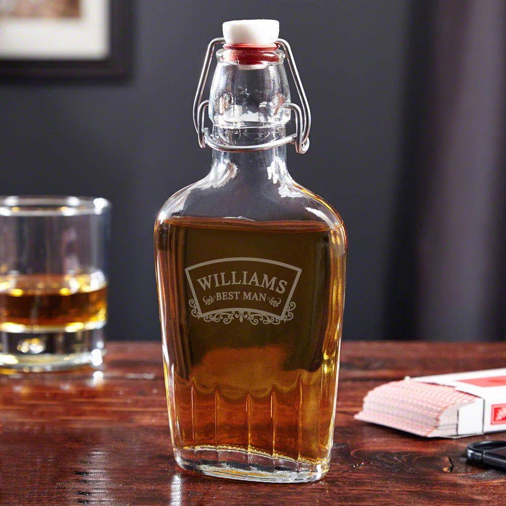 Timeless Wedding Personalized Glass Flask