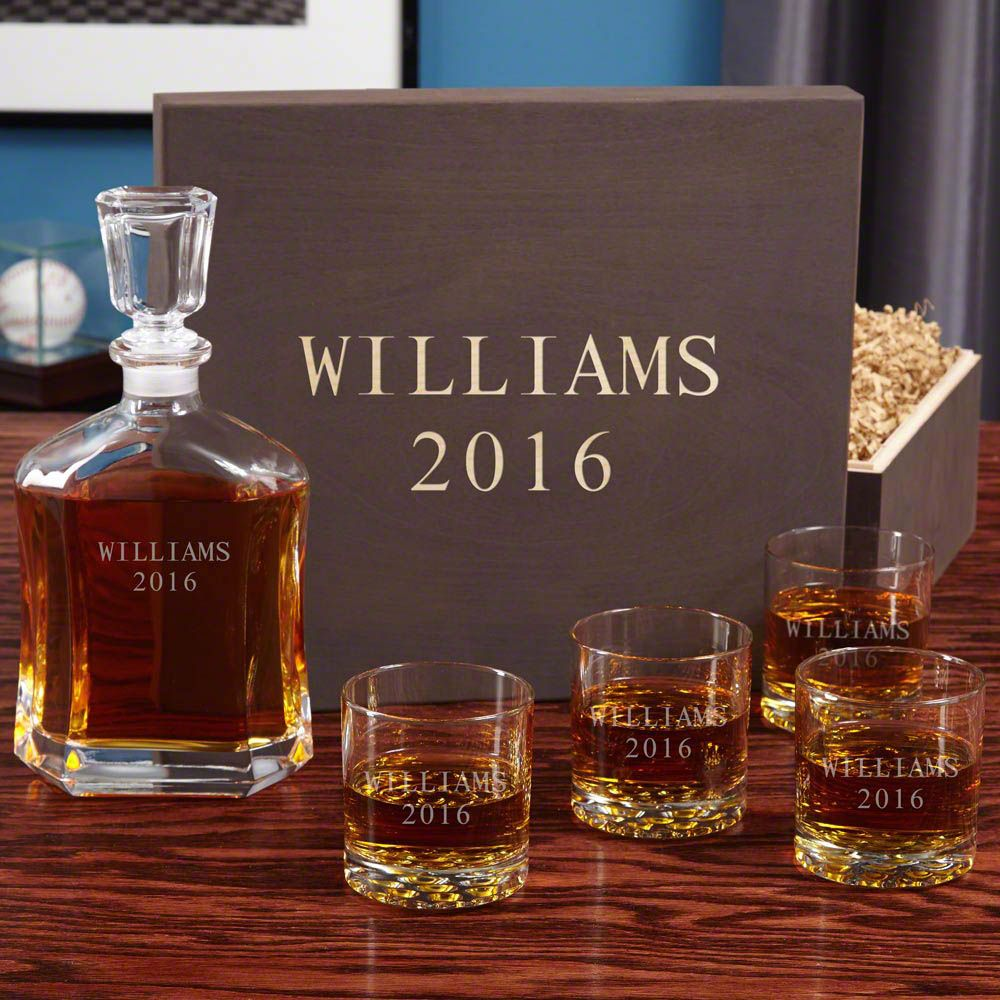 Personalized Buckman Whiskey Glass Wood Gift Box Set