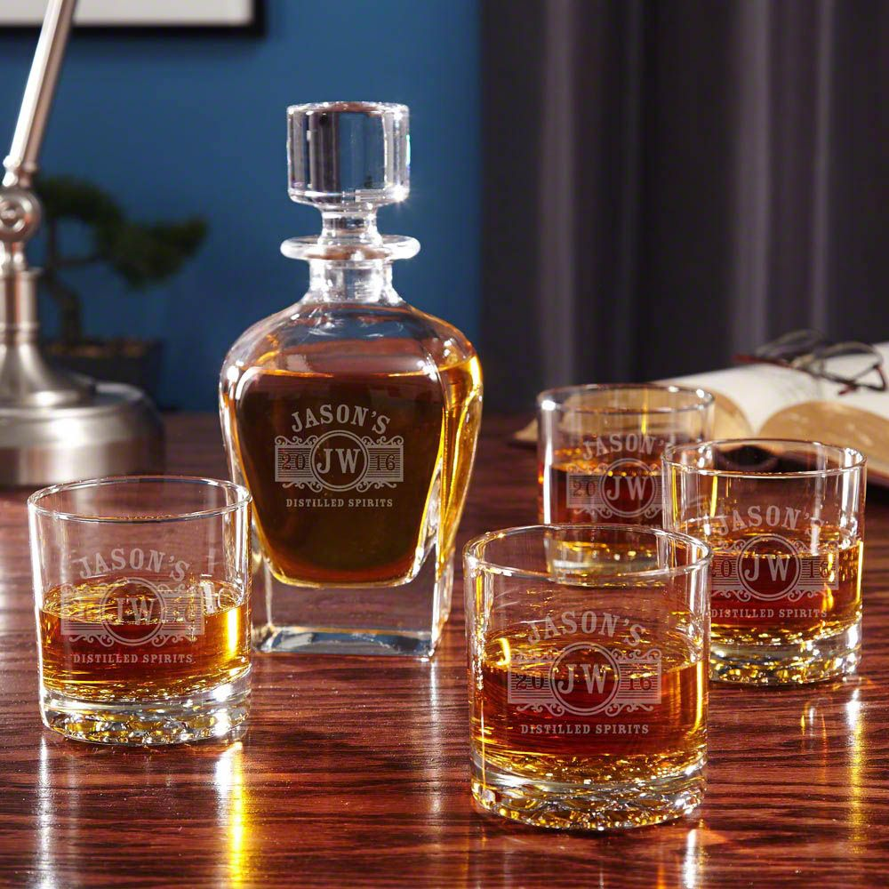 Marquee Whiskey Glass Set with Draper Decanter