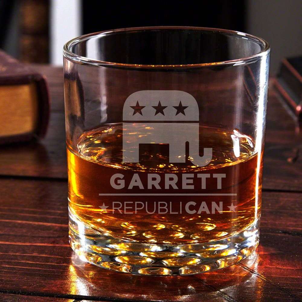 RepubliCAN Personalized Whiskey Glass