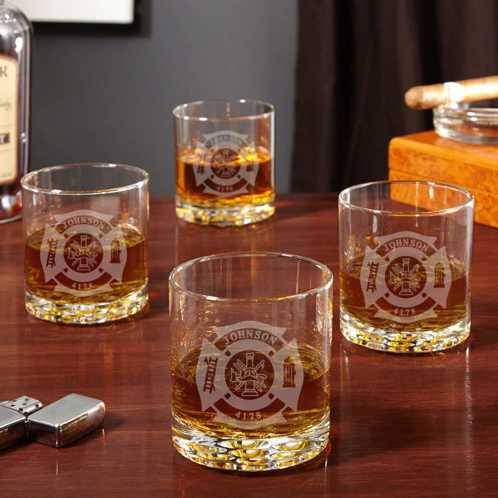 Fire & Rescue Engraved Buckman Whiskey Glasses, Set of 4