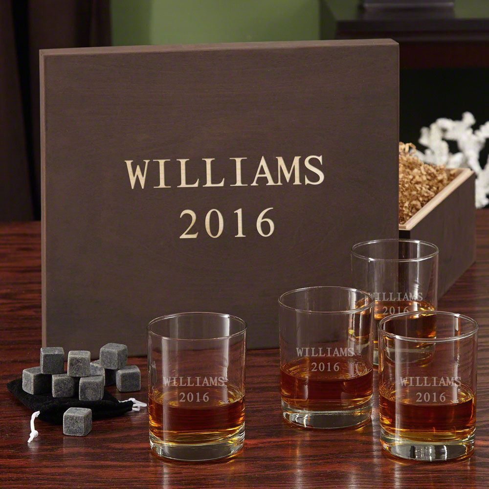 Eastham Personalized Whiskey Set with Custom Wooden Gift Box