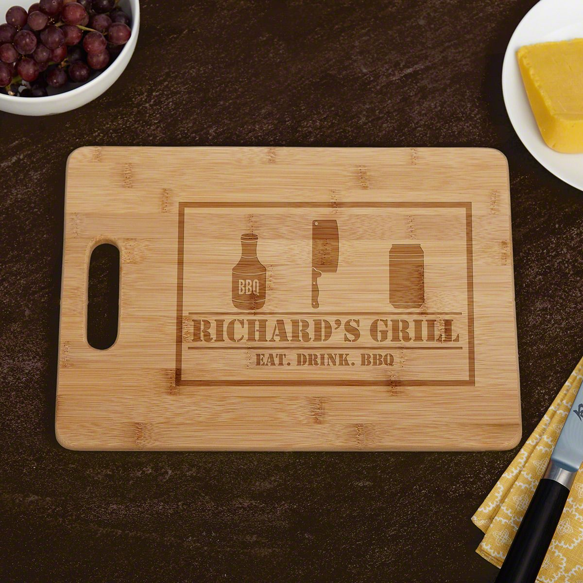 Grill Father Glass Chopping Board Any Text Image Logo