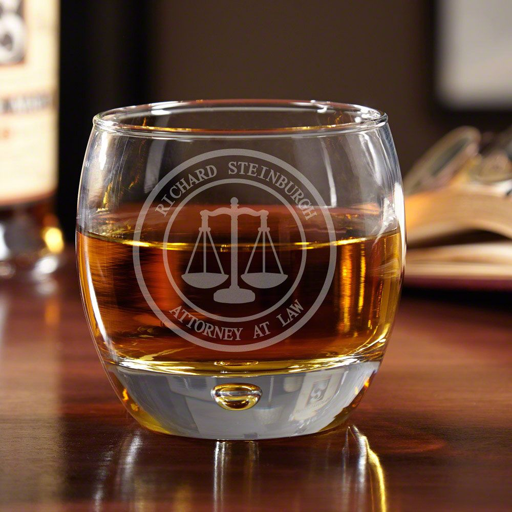 Scales of Justice Personalized Whiskey Glass for Lawyers