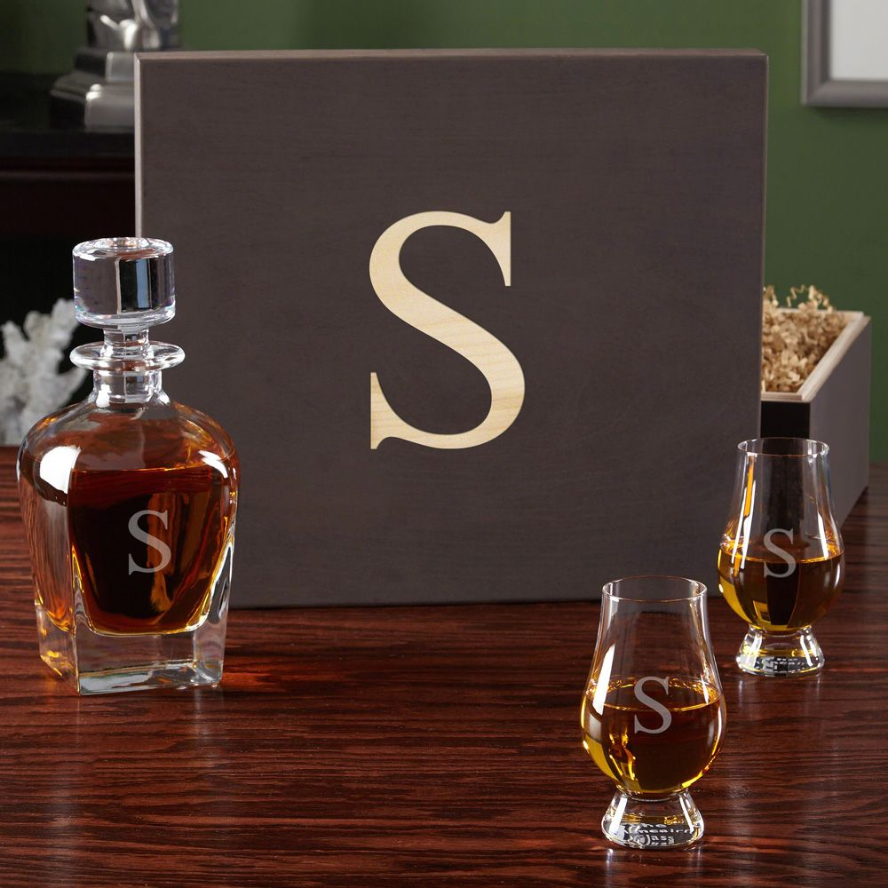 Personalized Whiskey Decanter and Glencairn Scotch Glasses