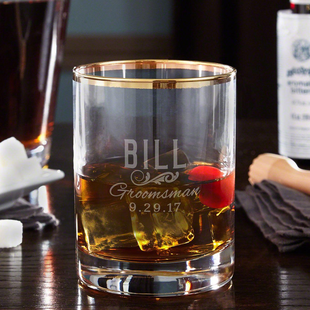 Classic Groomsman Personalized Gold Rim Whiskey Glass