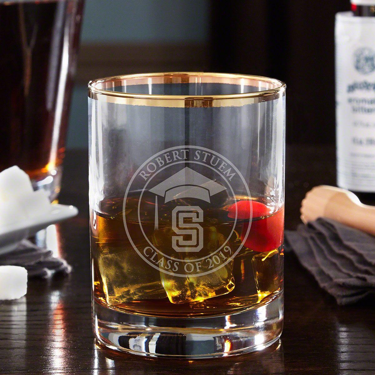 Graduation Day Personalized Gold Rim Whiskey Glass