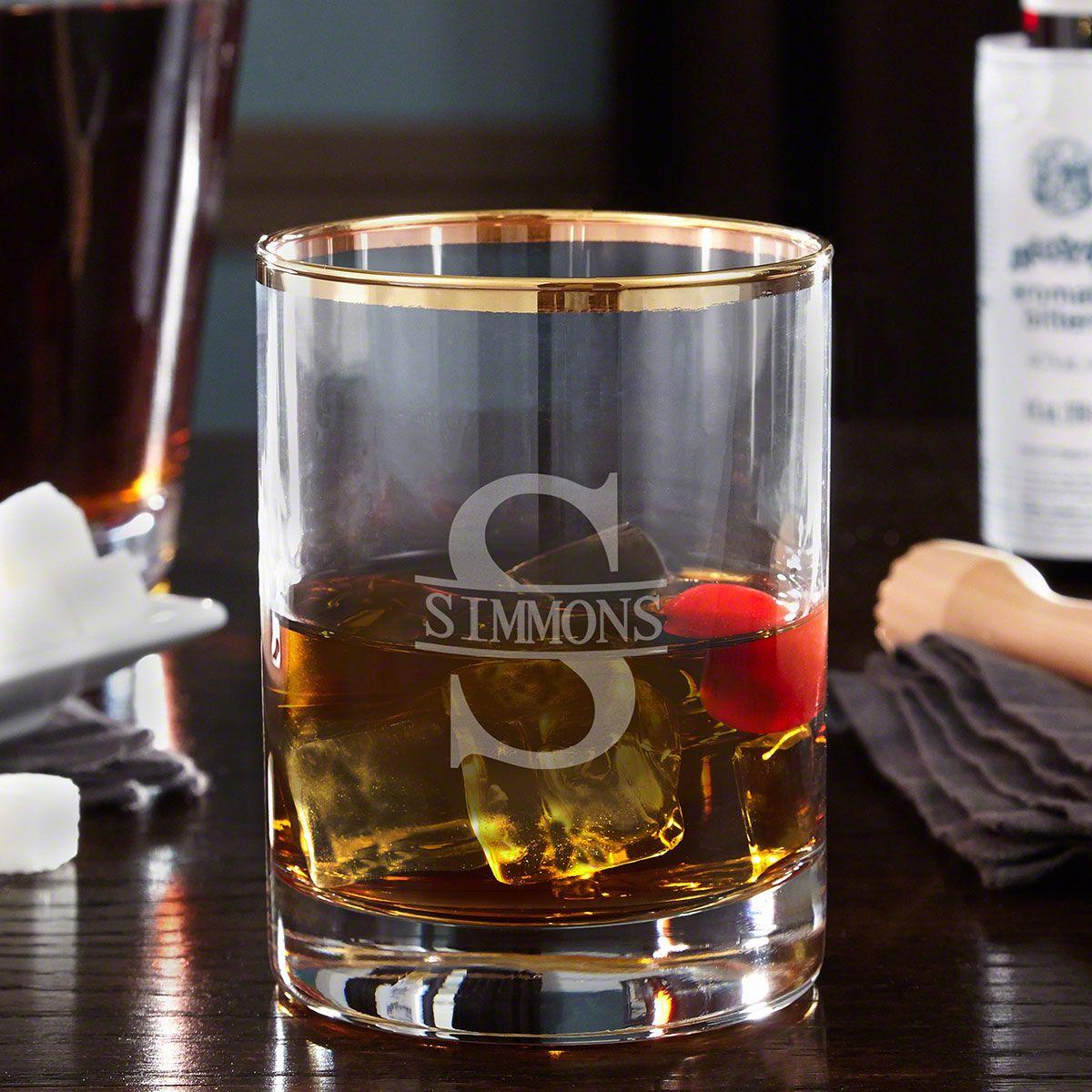 Oakmont Personalized Gold Rim Whiskey Glass