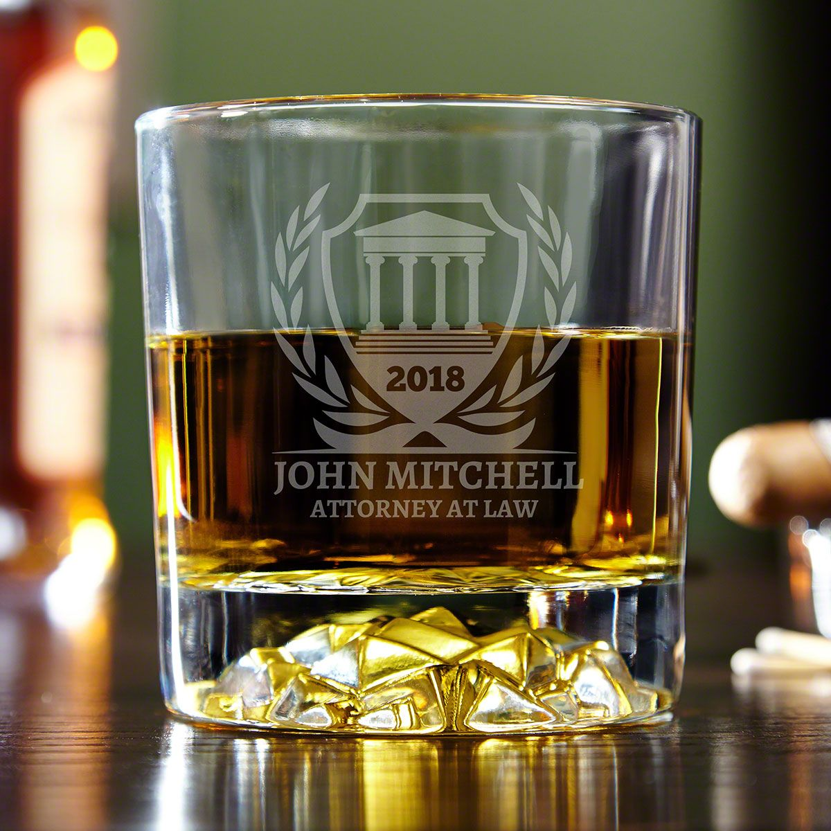 Personalized Courthouse Whiskey Glass for Lawyers