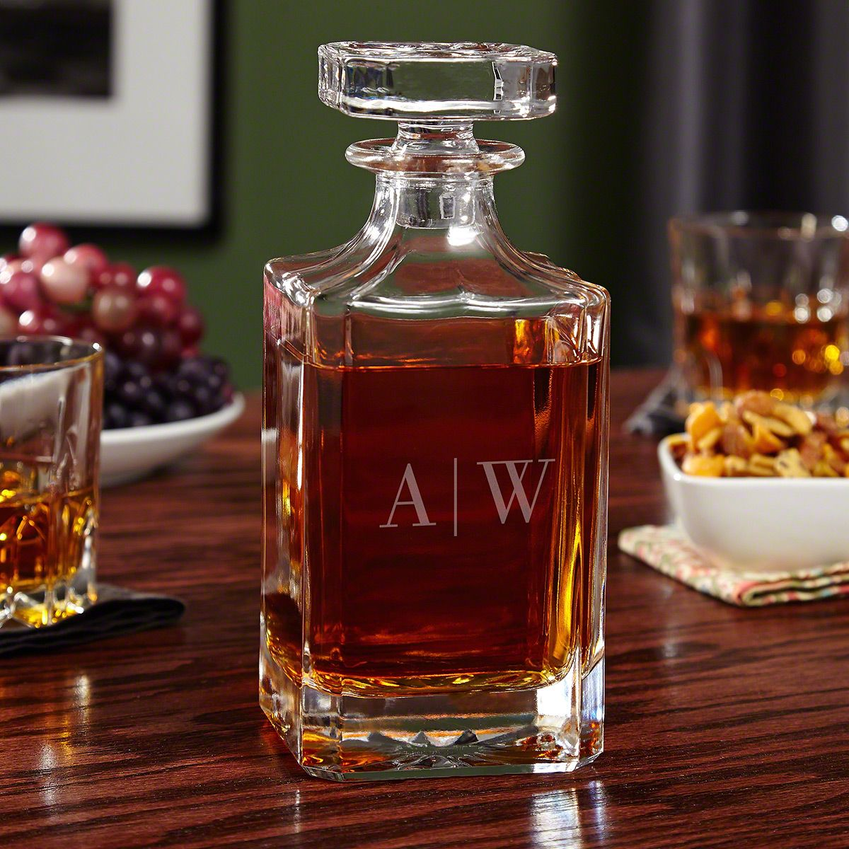 Quinton Monogrammed Whiskey Decanter with Glass Stopper