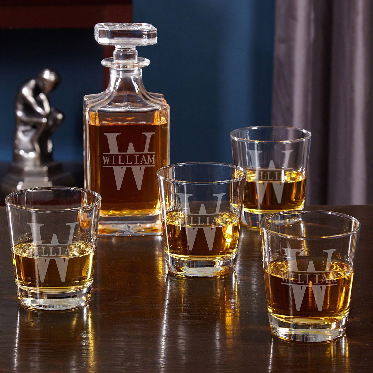 Oakmont Engraved Whiskey Decanter Set with Rocks Glasses