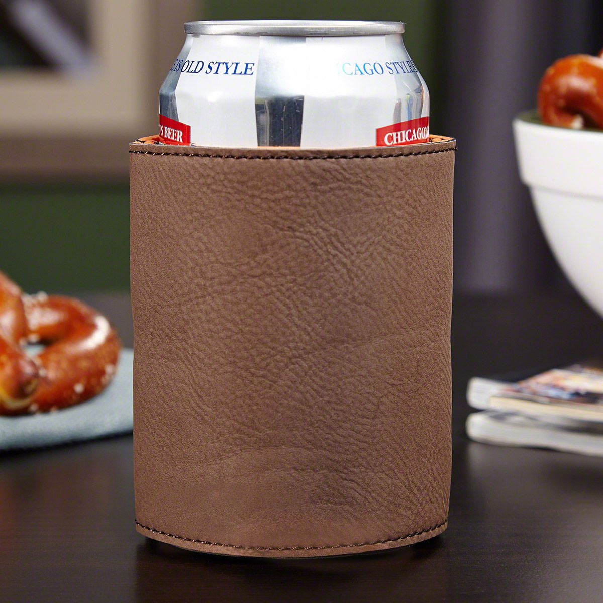 Brown Leather Koozie