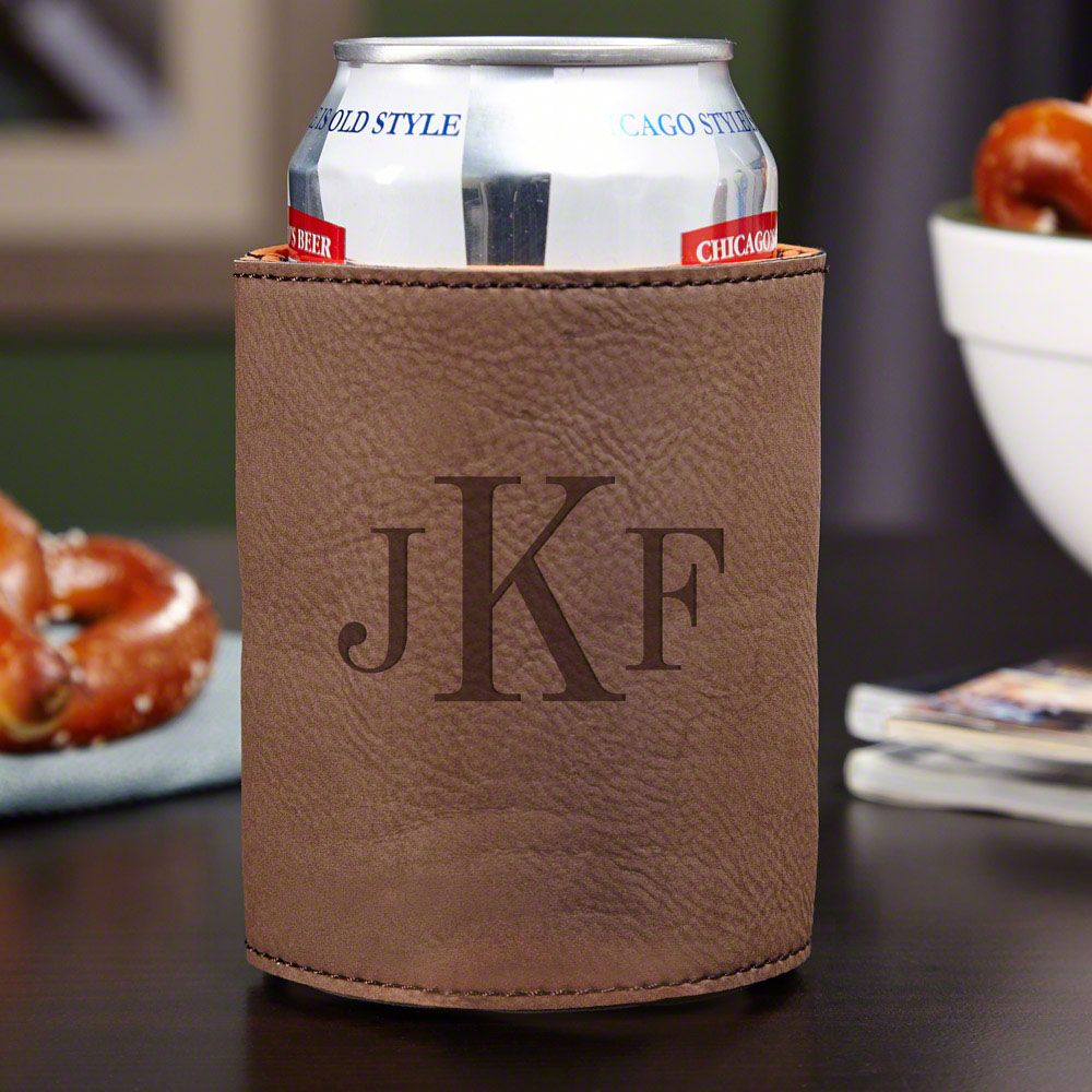 Classic Monogram Personalized Beer Koozie, Chestnut