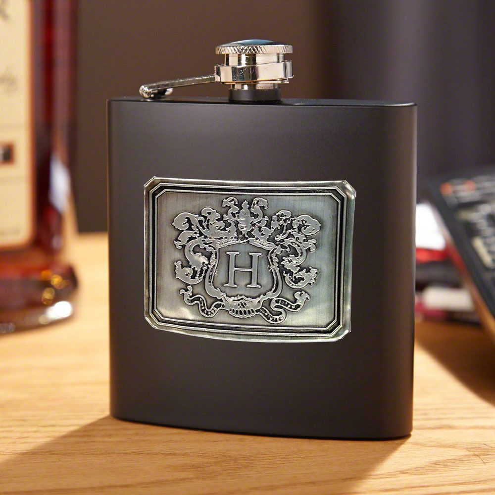Royal Crested Blackout  Personalized Flask