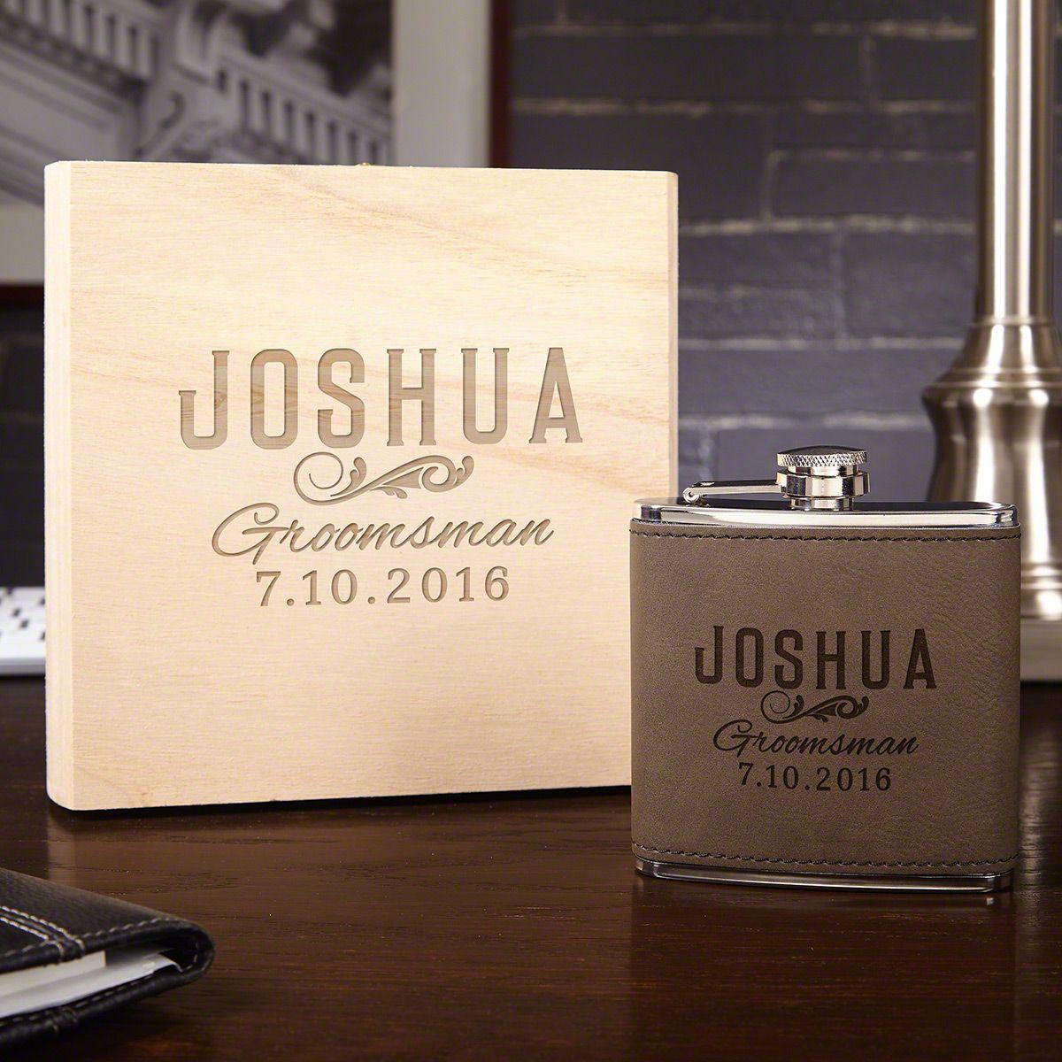 Classic Groomsman Custom Flask Set with Wood Gift Box