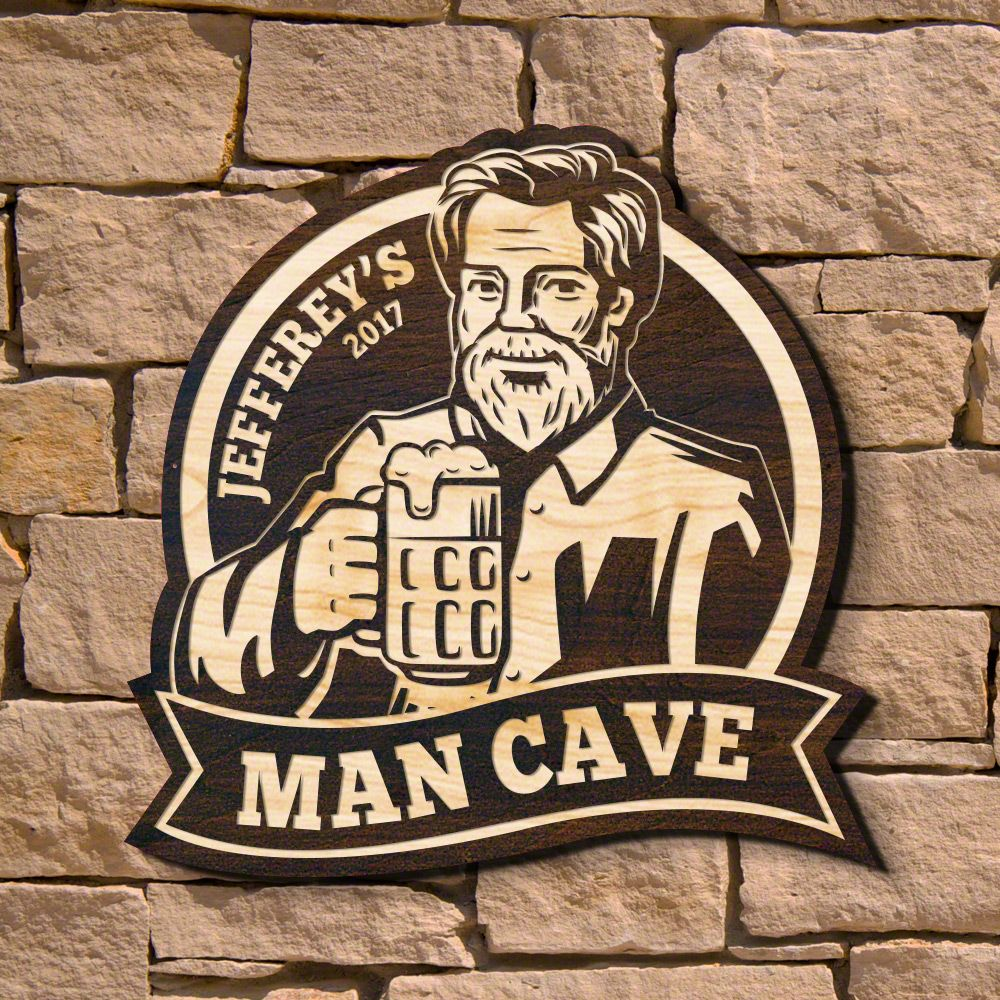 Mighty Man Cave Personalized Wooden Sign (Signature Series)