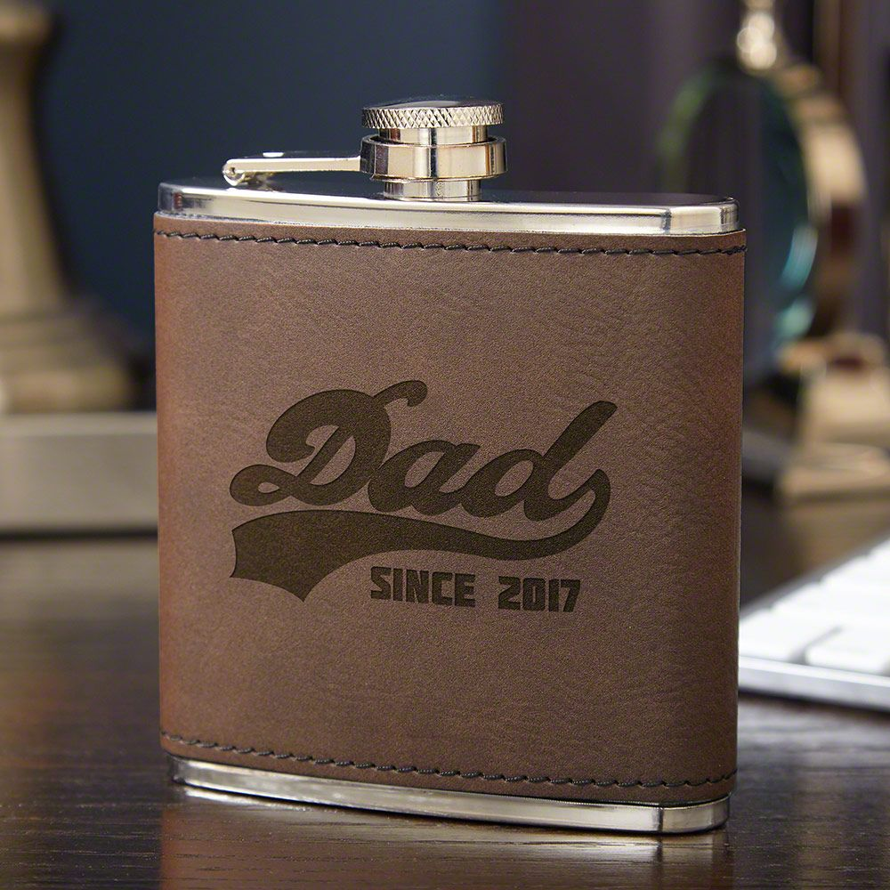 Sports Dad Engraved Leather Liquor Flask