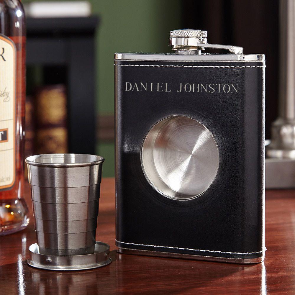 Dual Liquor Flask with Shot Glass Set (Engravable)