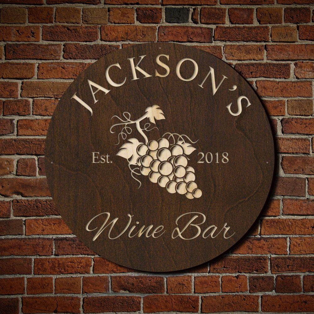Sunset Vineyard Custom Wine Bar Sign (Signature Series)
