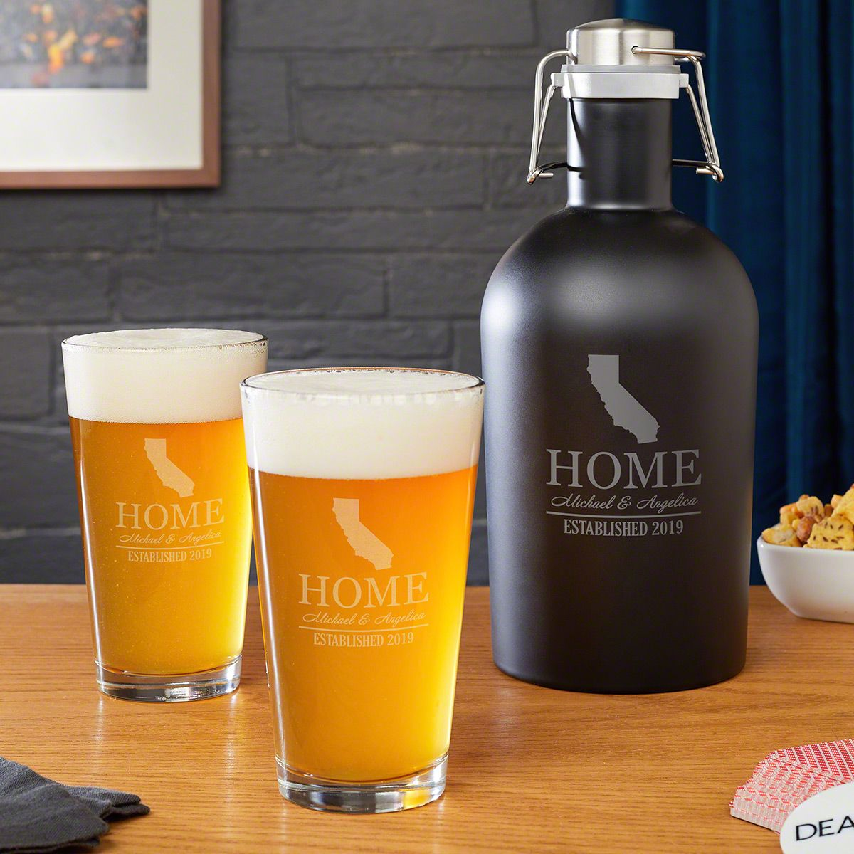 Steel Growler and Pint Glasses with Your Home State (All 50 Avail)