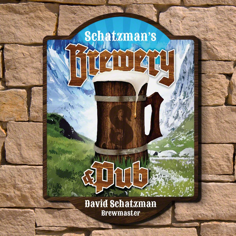 Alpine Brewery & Pub Custom Wooden Sign