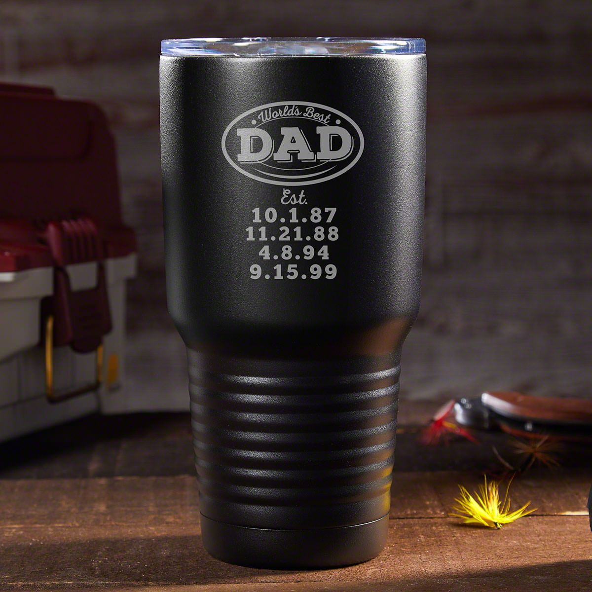 Worlds Best Dad - Custom Travel Mug Gift from Daughter or Son