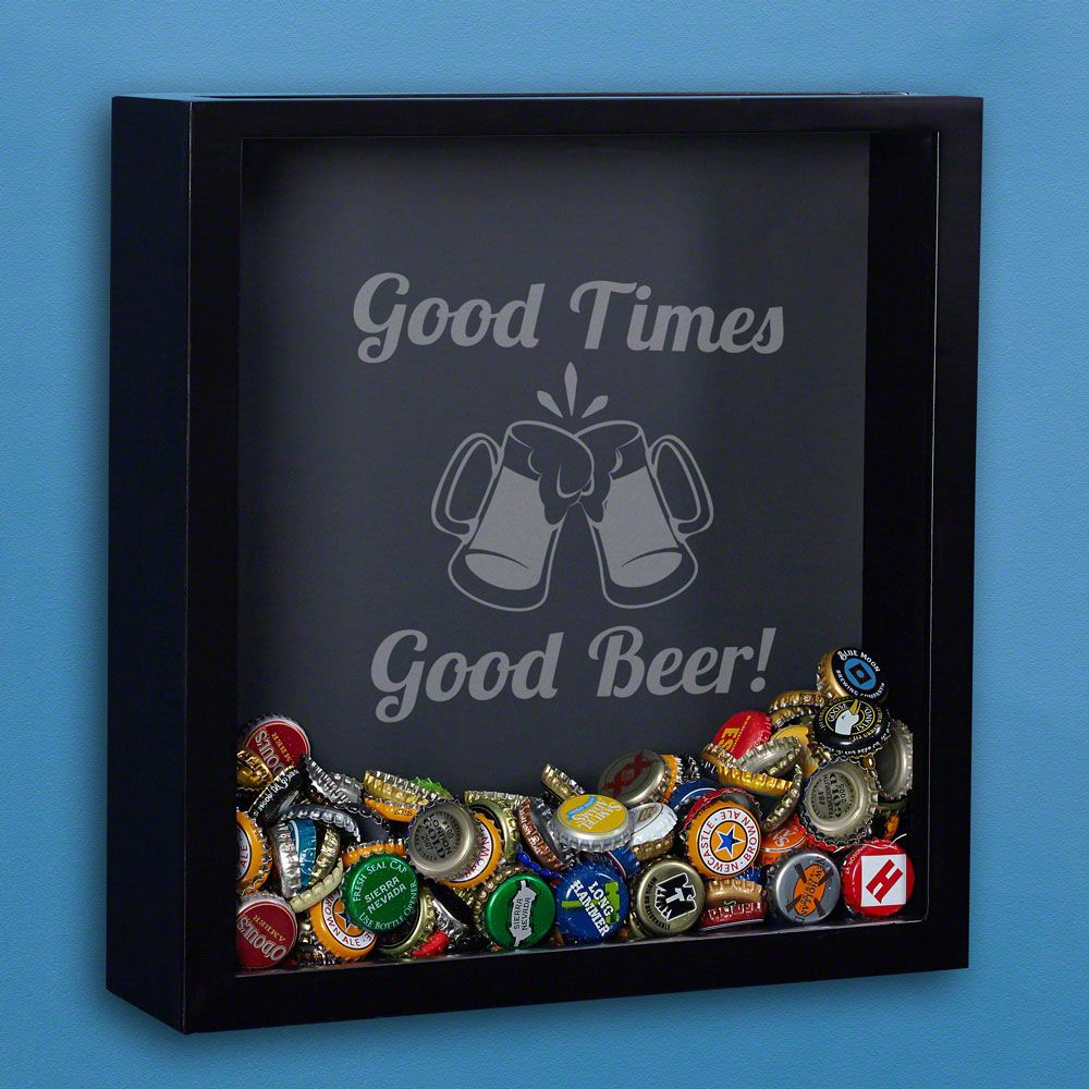 Good Times Good Beer Engraved Shadow Box