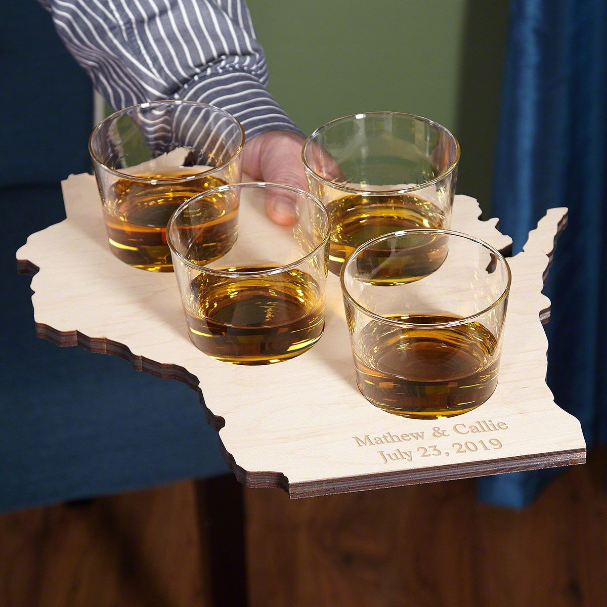 Home State Custom Rocks Glass Serving Tray - 13 States Available