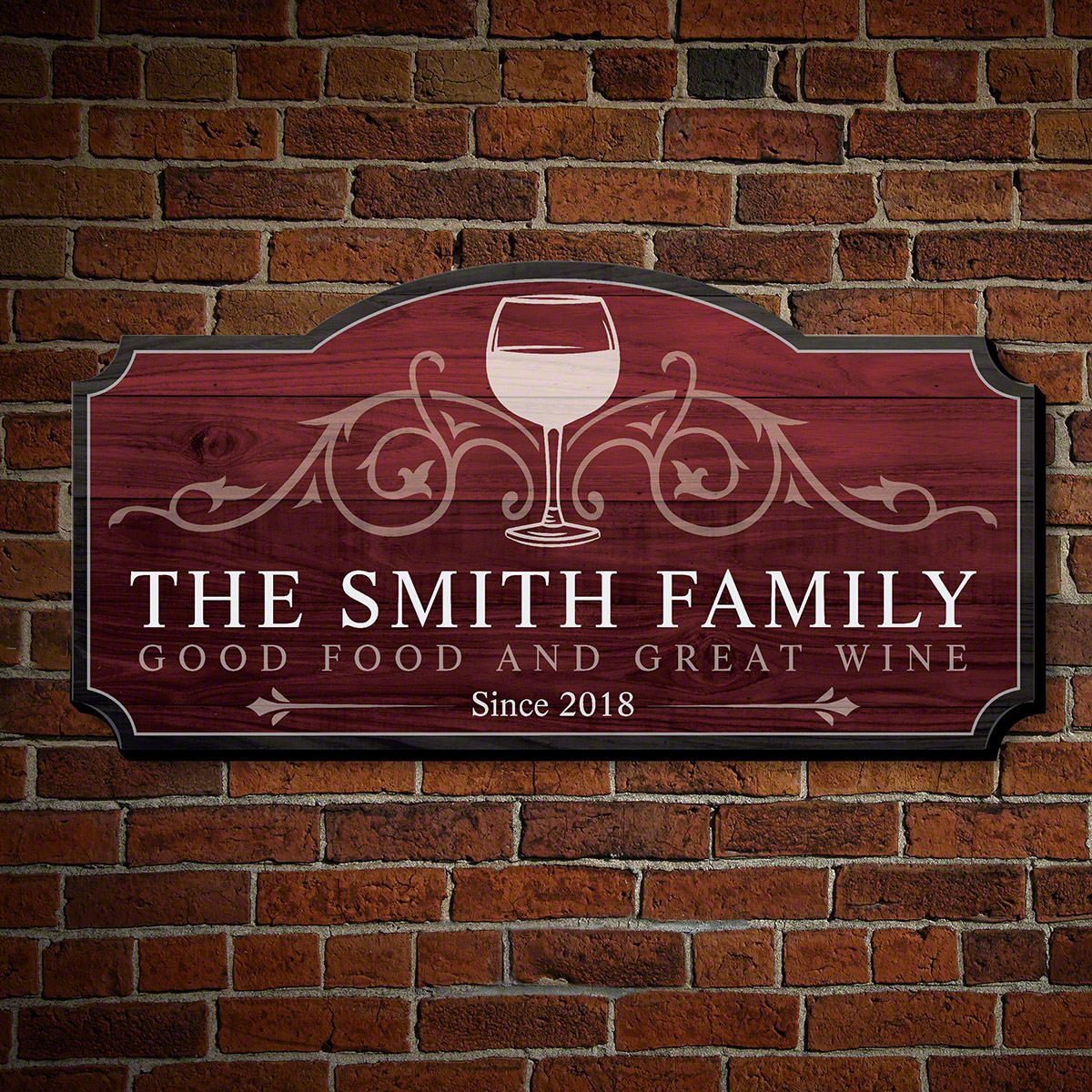 Wine and Family Wall Art Custom Wooden Sign