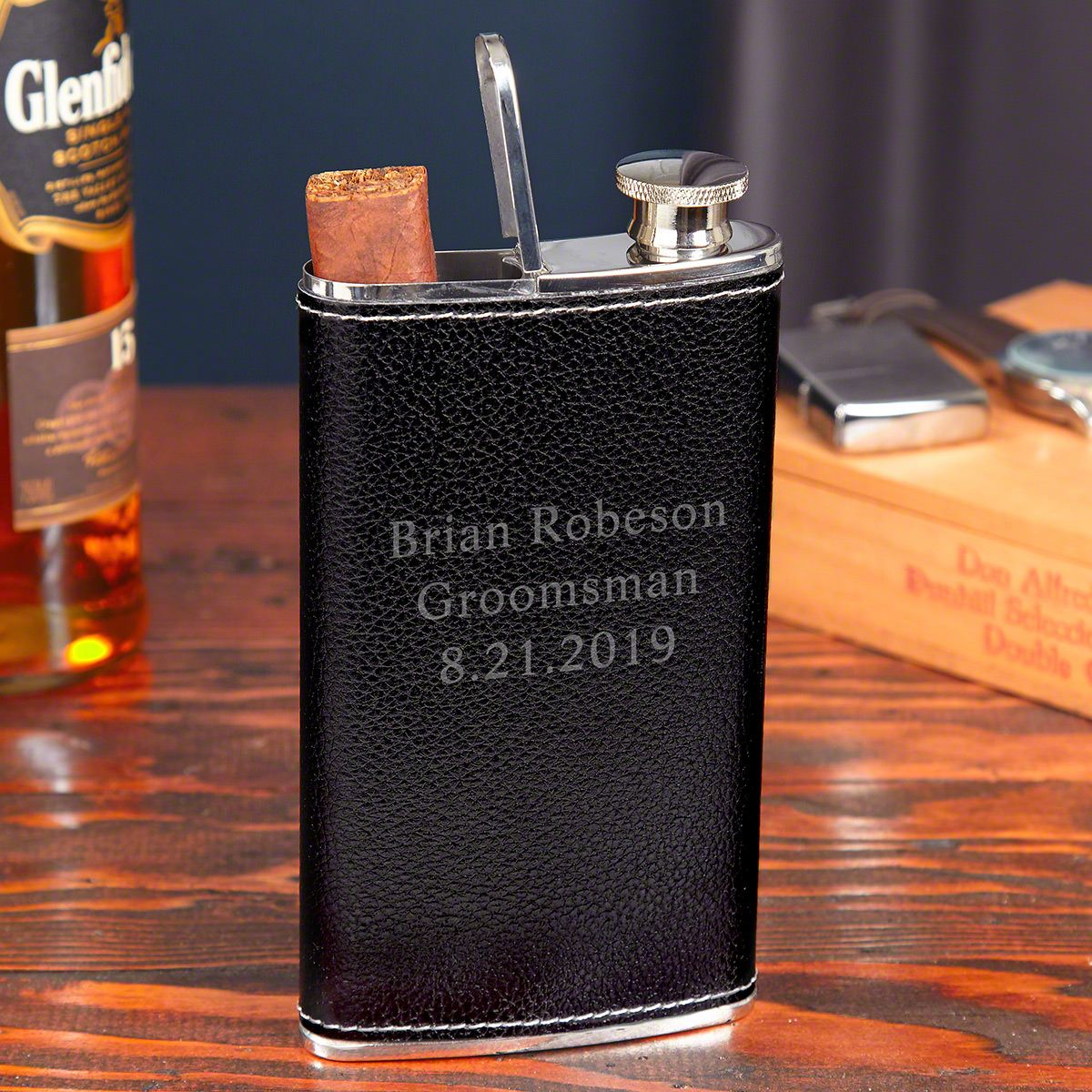 Engraved Black Leather Flask and Cigar Holder Combo