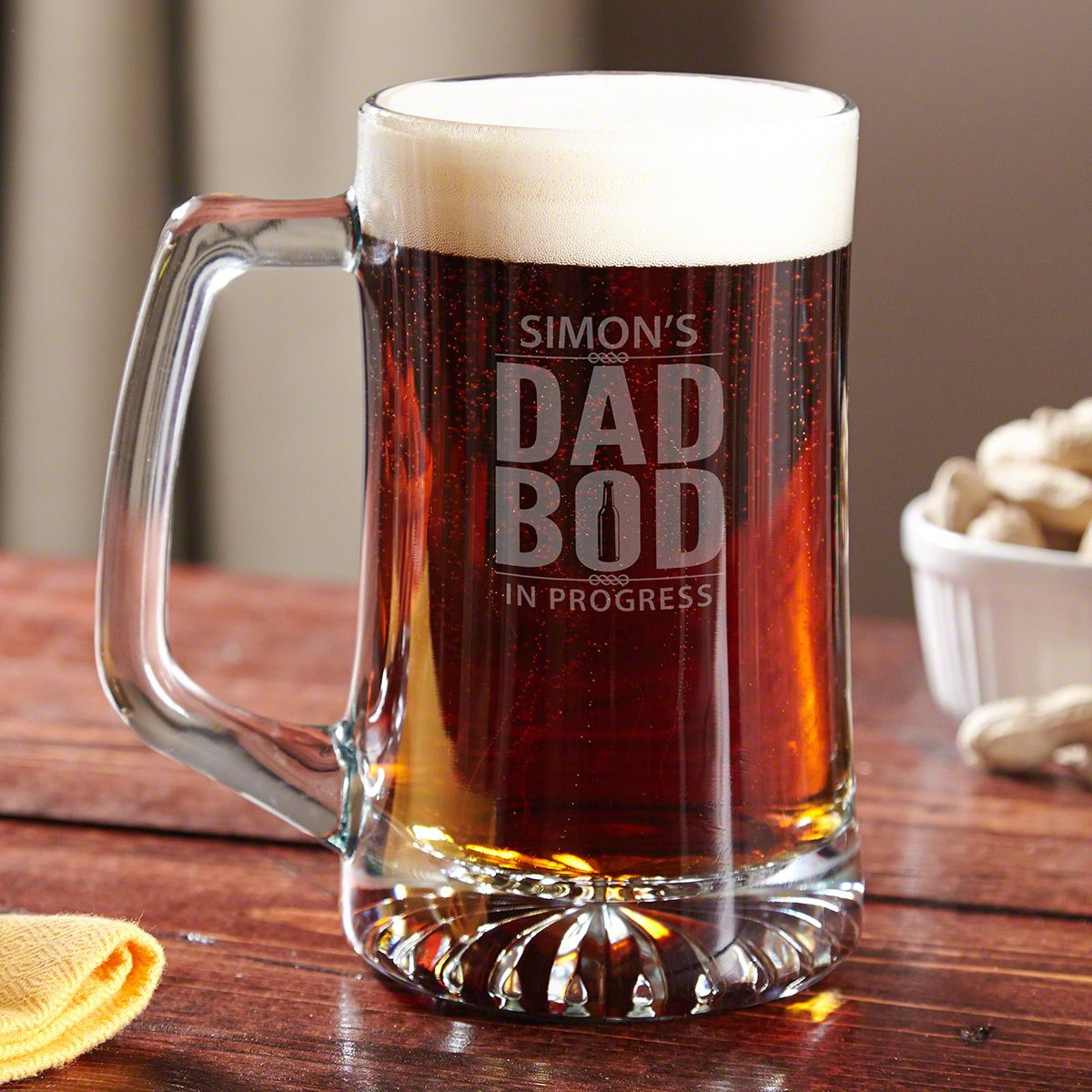 Dad Bod In Progress Custom Beer Mug