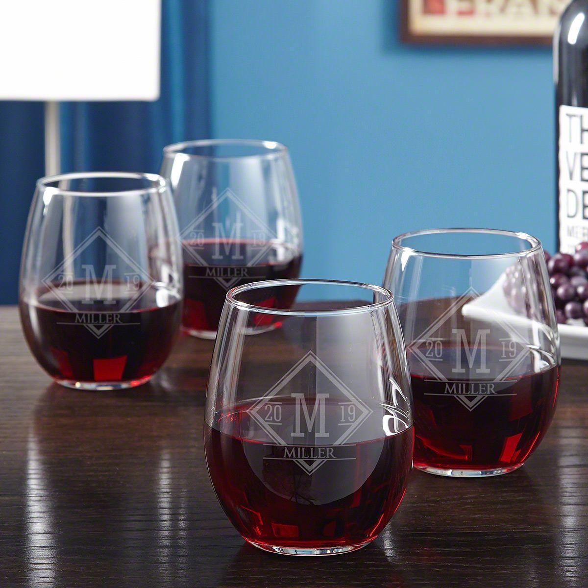 Drake Etched Stemless Wine Glasses, Set of 4