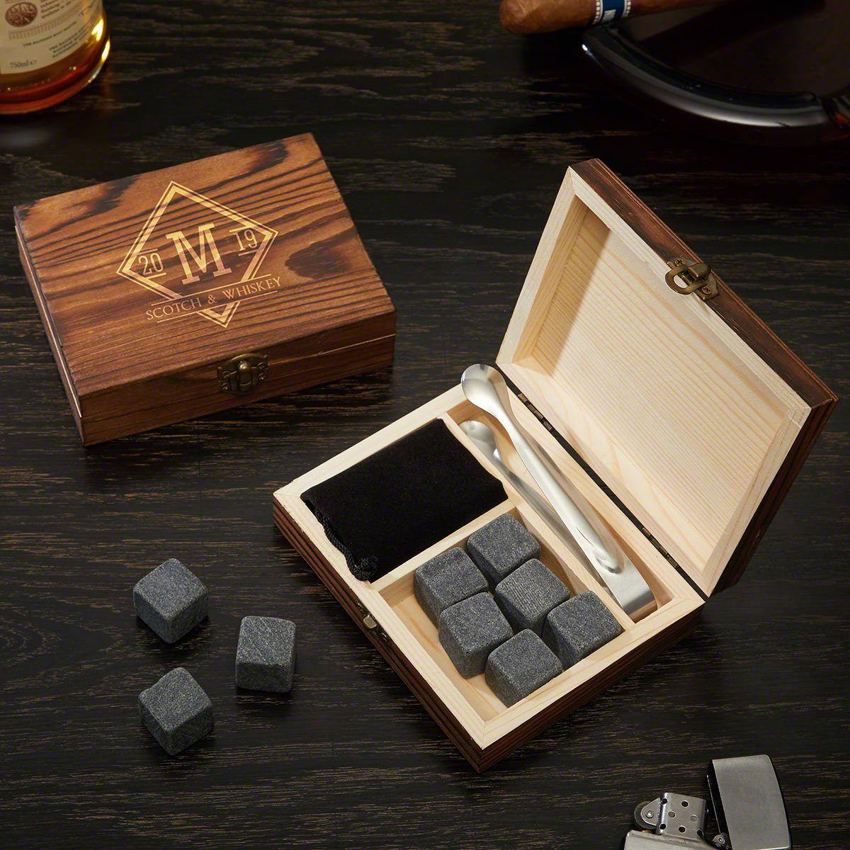 Drake Etched Whiskey Stones Gift Set