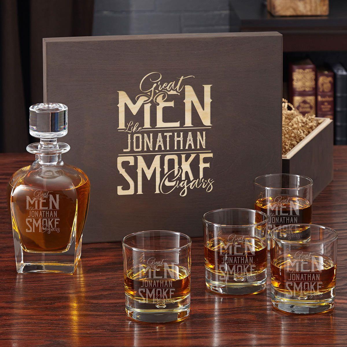 Great Men Smoke Cigars Engraved Liquor Decanter and Scotch Glass Box Set