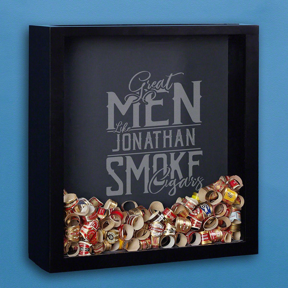 Great Men Smoke Cigars Etched Shadow Box for Tobacco Aficionados