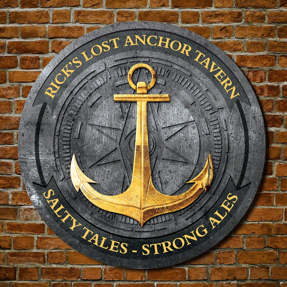 Davenport Ship Anchor Round Wood Tavern Sign