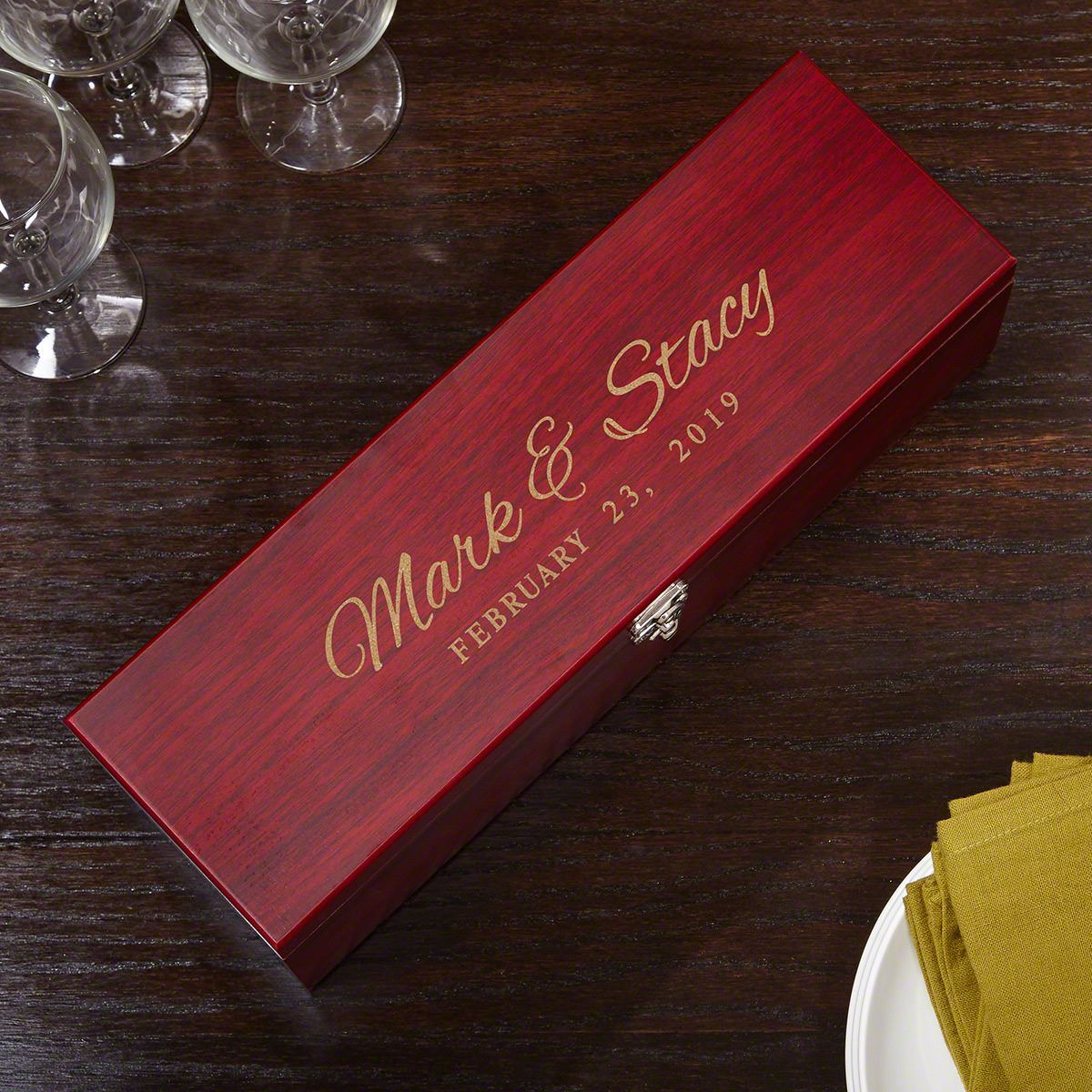 Time to Remember Personalized Wine Bottle Box