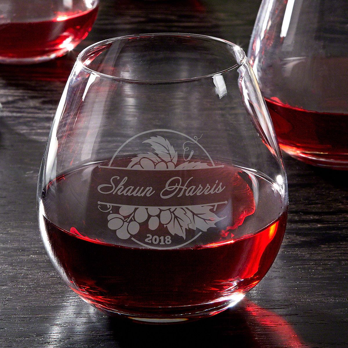 Rhone Valley Etched Stemless Red Wine Glass