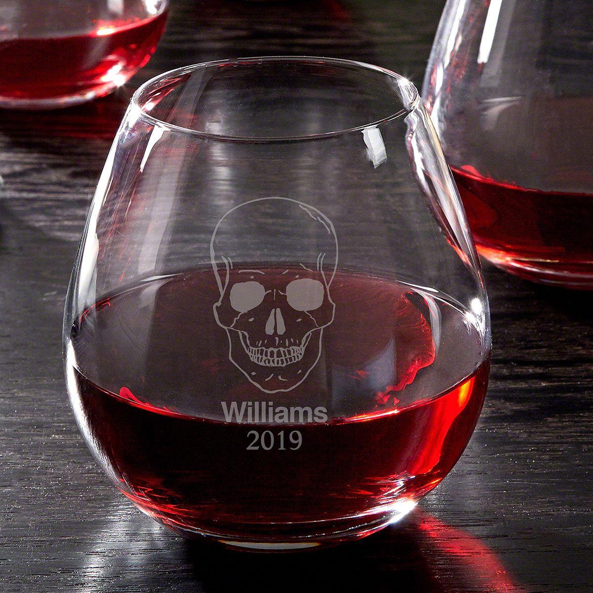 Phantom Skull Engraved Stemless Wine Glass