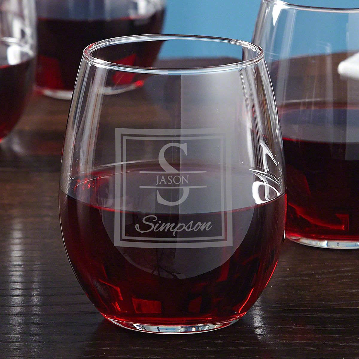 Oakhill Stemless Etched Wine Glass