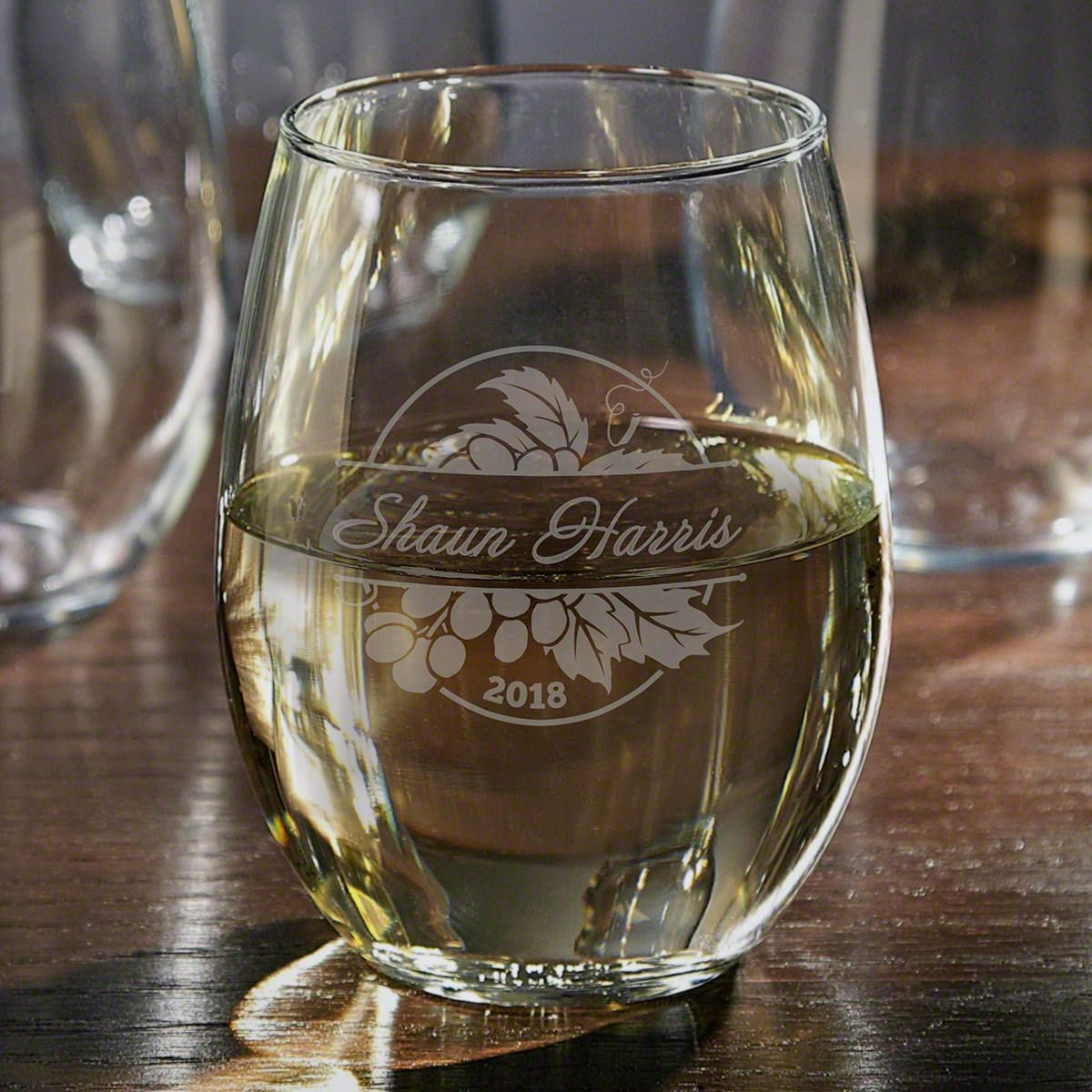 Rhone Valley Etched Stemless Wine Glass