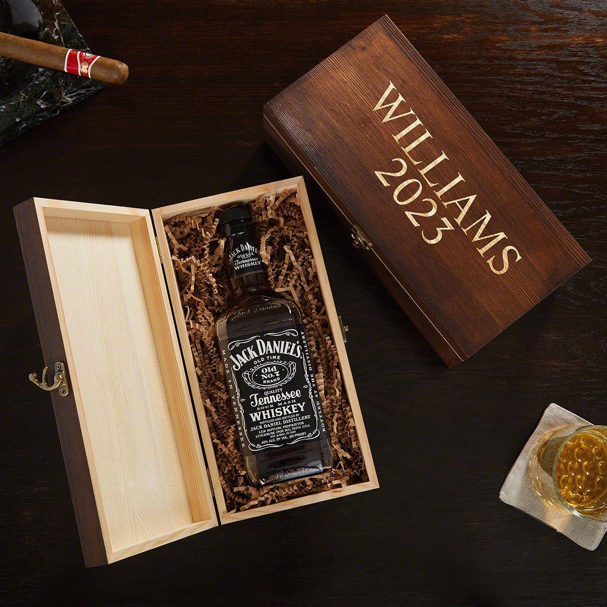 2 Lines Custom Engraved Wooden Gift Box for Liquor Bottles