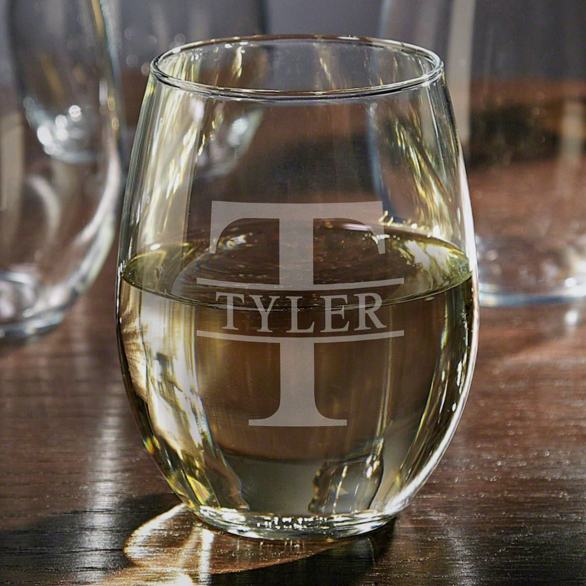 Oakmont Stemless Custom Engraved Wine Glass