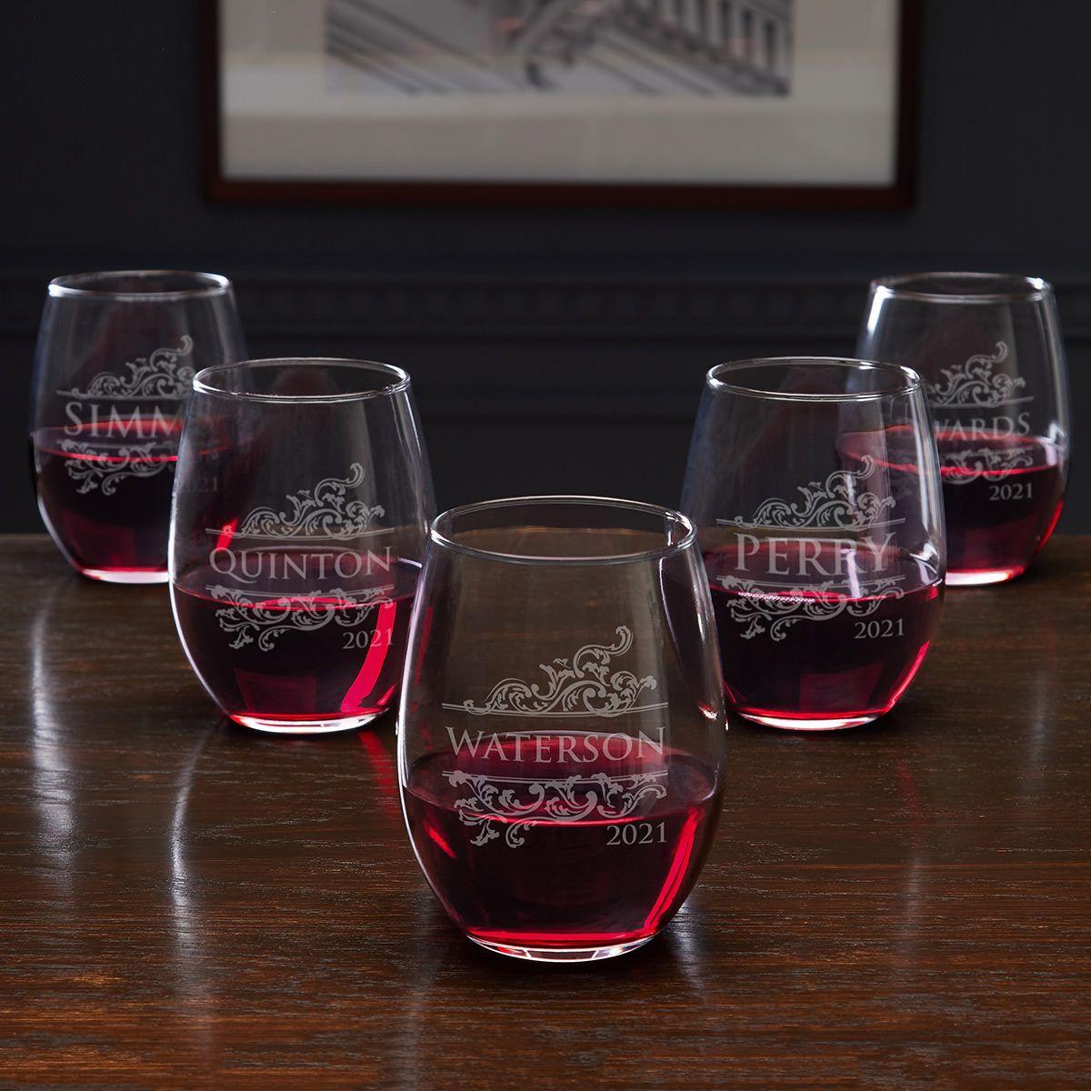 Livingston Personalized Stemless Wine Glasses for Weddings